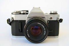 Vintage SLR camera. In black and silver colors Royalty Free Stock Image