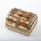 Vintage small ornate treasure box made of camel bone Royalty Free Stock Photo