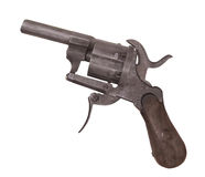 Vintage small pin fire revolver isolated. Royalty Free Stock Images