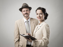 Vintage smiling business people Stock Image