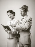 Vintage smiling business people Royalty Free Stock Image