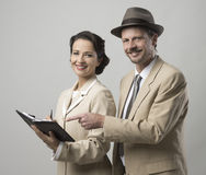 Vintage smiling business people Stock Images