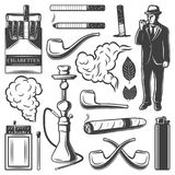 Vintage Smoking Elements Collection. With cigarettes gentleman hookah pipes matches lighter cigar tobacco leaves isolated vector illustration Stock Image