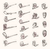 Vintage smoking pipe. Antique prehistoric tobacco for an elegant gentleman. Heads and faces of different people stock illustration