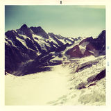 Vintage snapshot, glacier panorama on Dolomites, Italy Stock Photography