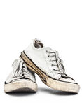 Vintage sneaker. White old leather vintage sneaker Royalty Free Stock Image