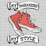 Vintage Sneakers Hand Drawn, vector illustration. Stock Photography