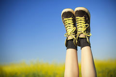 Vintage sneakers resting Royalty Free Stock Photography