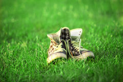 Vintage sneakers resting on the grass Royalty Free Stock Photo