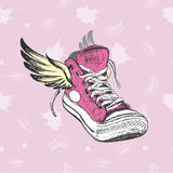 Vintage Sneakers with wings Stock Photography