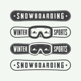 Vintage snowboarding logos, badges, emblems and design elements. Royalty Free Stock Photography