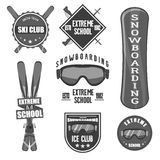 Vintage snowboarding or winter sports badges. Stock Photos