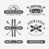 Vintage snowboarding or winter sports logos, badges, emblems Stock Photography