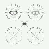 Vintage snowboarding or winter sports logos, badges, emblems Royalty Free Stock Photo