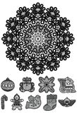 Vintage. Snowflake and Christmas toys vector illustration