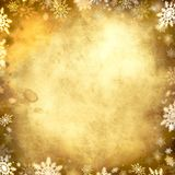 Vintage snowflake golden background frame Royalty Free Stock Image
