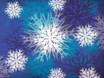 Vintage snowflakes blue background Stock Photo