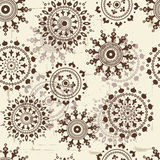 Vintage snowflakes seamless pattern. All elements of composition located on separate layers and can be easy editable Stock Photo