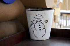 Vintage snowman bucket Royalty Free Stock Photo