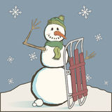 Vintage snowman with sled Stock Images