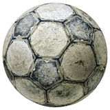 Vintage soccer ball 2. Used vintage soccer ball - cracked grungy texture - isolated on white Royalty Free Stock Photo