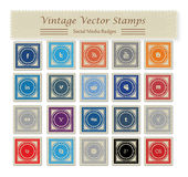 Vintage Social Media Vector Stamps Stock Photography