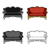 Vintage sofa icon in cartoon style isolated on white background. Furniture and home interior symbol stock vector Stock Photos
