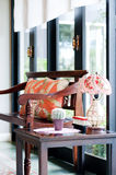 Vintage sofa with lamp Stock Images