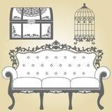 Vintage Sofa Vintage Bird Cage and Vintage Trunk. Illustration sofa for vintage interior. Illustration sofa for vintage interior. Vintage bird cage designs in royalty free illustration