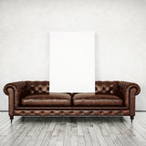 Vintage sofa and white poster Royalty Free Stock Images