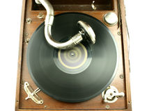Vintage sound. Top view at vintage gramophone player with record Stock Photo