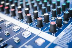 Vintage sound mixer close up royalty free stock photo