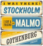 Vintage  souvenir sign or postcard templates. With cities in Sweden. Travel theme. Places to visit and remember Stock Image
