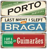 Vintage  souvenir sign or postcard templates with Portugal cities. Places to visit and remember Stock Images