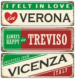 Vintage  souvenirs or postcard templates with places in Italy. Italian cities retro metal signs set. Vintage  souvenirs or postcard templates with places in Stock Photography