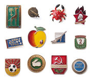Vintage Soviet badges Stock Photo