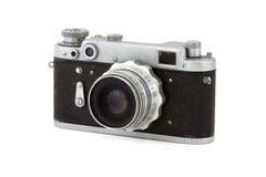 Vintage Soviet camera. Black vintage Soviet camera, isolated Royalty Free Stock Image