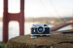 Vintage soviet camera Zorki 4 photographed hear Golden Gate Brid Royalty Free Stock Photo