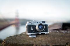 Vintage soviet camera Zorki 4 photographed hear Golden Gate Brid Royalty Free Stock Photography