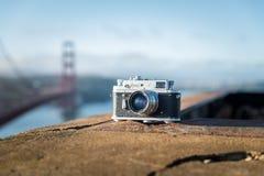 Vintage soviet camera Zorki 4 photographed hear Golden Gate Brid Stock Photos