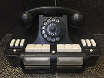 Vintage soviet dial handset phone with buttons and Cyrillic letters stock image