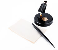 Vintage soviet fountain pen with stand and sheet for records Stock Photography