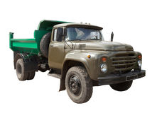 Vintage Soviet military truck. Isolated over white Royalty Free Stock Photo