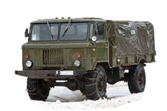 Vintage soviet truck under rain Royalty Free Stock Photos