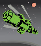 Vintage Space cargo ship Vector. Vintage Space cargo ship in flight Stock Image