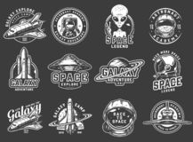 Vintage space exploration logos set. With astronaut in spacesuit spaceman helmet spaceships shuttle alien showing peace sign saturn planet isolated vector stock illustration