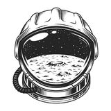 Vintage space helmet concept. With moon and galaxy landscape isolated vector illustration stock illustration