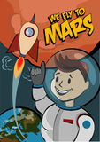 Vintage space postcard. We fly to Mars. The first humans on Mars. Vector illustration Royalty Free Stock Photo
