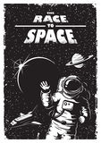 Vintage space poster. With shuttle, astronaut, planets and stars. Space theme. Monochrome style stock illustration