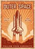 Vintage space poster with shuttle. On a grunge scratched background. Space theme. Motivation poster vector illustration